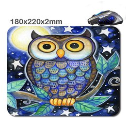 Wholesale custom paint design - Design Print colorful owl painting Custom Non-Slip Durable Computer Laptop Gaming Rubber Soft Mouse Pad As Gift220*180*2 Mm
