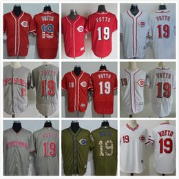 Wholesale Order Baseball Jersey Cheap - Cincinnati reds #19 joey votto Cool base Flex base Baseball Jersey White Red Grey Cheap Rugby Jerseys Authentic Stitched Mix Order