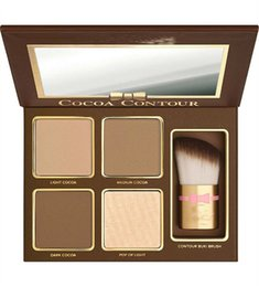 Wholesale highlighter face - Newest Brand COCOA Contour Kit Highlighters Palette Nude Color Cosmetics Face Concealer Makeup Chocolate Eyeshadow with Contour Buki Brush