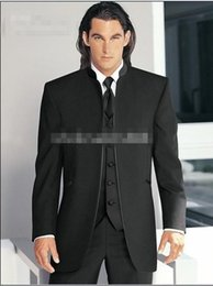 Wholesale Groom Tuxedos Black Mandarin Lapel - Hot Sale No Button Slim Fit Groom Tuxedos Black Best man Mandarin Lapel Groomsman Men Wedding Suits Bridegroom (Jacket+Pants+Tie+Vest)J314