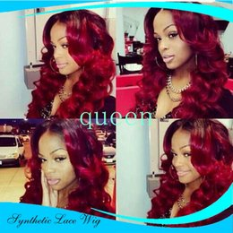 Wholesale Sexy Front Lace Wig - Synthetic Lace Front Wig Body Wave Natural Wavy Cheap Synthetic Wigs Black To Burgundy Ombre Sexy Lace Front Wig For Black Women