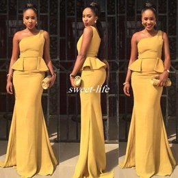 Wholesale Champagne Wedding Dresses One Shoulder - African Style 2017 Daffodil Satin One Shoulder Mermaid Bridesmaid Dresses Sexy Peplum Long Wedding Formal Gowns Custom Made Evening Dress