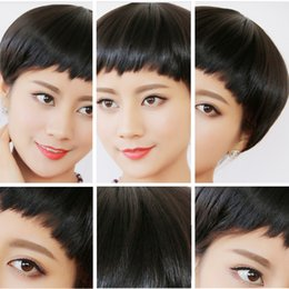 Wholesale Chinese Doll Wholesale - Fashion brand human hair ladies short wig hand hook and semi mechanism China Doll hair hair Lady wig sets