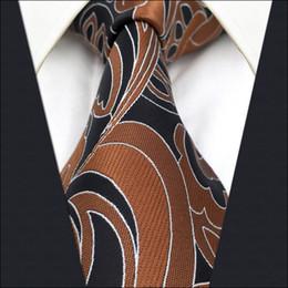 Schwarze braune krawatten online-B21 Brown Black Abstract Silk Herren Krawatte Krawatte Hochzeit Mode Krawatten für männliche Classic extra lange Größe