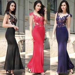 Wholesale Hot N Sexy Dresses - Hot sale Women's backs sexy long skirt dragged lace evening dress new dress N LX005