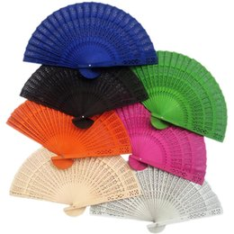 Wholesale Chinese Sandalwood - (50 pieces lot) New Chinese sandalwood fans Promotional hand fans Fancy wedding favors 8 inches 7 colors available