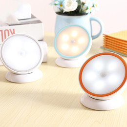Wholesale Rotation Night Lamp - 360 Degree Rotation Motion Sensor LED Night Light Wall Light Lamp Rechargeable Battery for Hallway Pathway Staircase