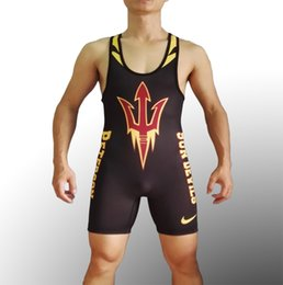 Wholesale Devil Suits - Mens Sun Devils Beast ASU Tight Suit One-Piece Wrestling singlet Youth Weight Lifting WorkOut Outfits