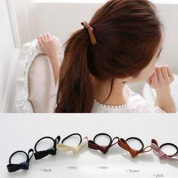 Wholesale Korean Hair Accessories Bow Fashion - Korean Fashion Women Leather Bow Rubber Bands Elastic Scrunchy Gum Hair Tie Rope Headwear Jewelry Hair Accessories