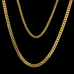 Wholesale Mens Chain Sizes - Hiphop Cuban Link Chain Mens Chain Necklace Classic Jewelry 2 Sizes 18k Gold Plated Link Chain Necklace Wholesale