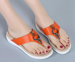 Wholesale Korean Summer W - Word drag slippers female summer fashion 2017 new grip feet wear non-slip beach shoes Korean flat with flat sandals