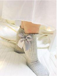 Wholesale Girl Socks Ribbons - Girls Socks UK new Baby ribbon Bow Sock High 3 4 Knee Kids Socks fit 2-4T spring autumn legs baby Girls sweet princess sotcking T1045