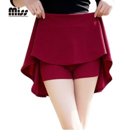 Wholesale High Waist Safety Pant - MISS 2016 Spring Women Pleated School Skirt Sun Mini Short High Waist Skater Skirts Red Solid For Red With Safety Pants T5B04