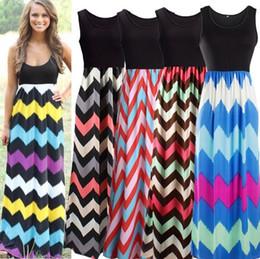 Wholesale Wholesale Long Chevron Dress - Wave Stripe Dress Bohemian Dresses Sleeveless Maxi Dresses Sexy Elegant Long Dress Round Collar Summer Chevron Casual Dresses Vestidos D556
