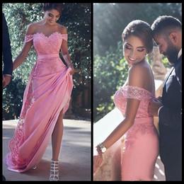 Argentina Elegante fuera del hombro, rosa, vestidos de noche 16 Dulce nupcial Desgaste de la fiesta Apliques de encaje y gasa Vestido largo de dama de honor Suministro