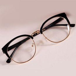 quadros ópticos coloridos atacado Desconto Atacado- New Style Óculos Anti-Radiação Óculos de vidro simples Moda Feminina Metal + Plástico semicírculo Frame Glasses Colorful Optical