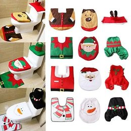 Wholesale Media Seating - 7 Style Happy Santa Toilet Seat Cover Rug Bathroom Set Decoration Christmas Xmas Navidad Decor YYA716