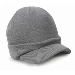 Wholesale Wholesale Cotton Beret Hats - Wholesale-Newly Stylish Fashion Esco Peaked Army Beanie Hat Warm Wooly Winter Mens Ladies Cadet Ski Cap With 7 Colors No8