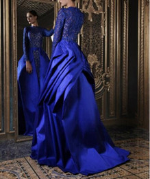 Wholesale taffeta jacket high collar - Floor length A line see through party dress lace and taffeta royal blue evening dresses 2017 with long sleeves