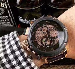 Wholesale Mens Big Case Watches - Men's Sport Watches High Quality Diver agent favorite quartz chrono brand 4.7 big case Leather strap movement watches mens sport watch