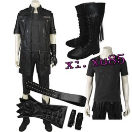 Wholesale Shirts Gloves - High Quality Noctis Lucis From Final Fantas FF15 Cospaly Costume Hot Game Jacket Pant Shirt Gloves Belt with Boots Custom Made