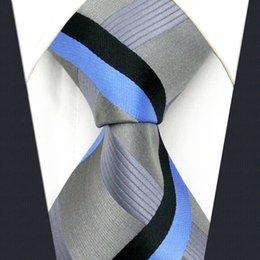 Wholesale Grey Woven Tie - Y35 Grey Blue black Checkes Silk Fashion Classic extra long size Men Necktie Tie