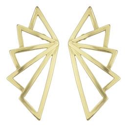 Wholesale Golden Studs - Punk Rock Golden Wing Shape Big Stud Earrings