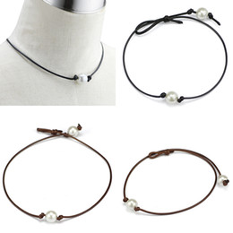 Simple et élégant perles haut lustre en cuir choker colliers femmes Punk Style noué à la main bijoux de mode ? partir de fabricateur