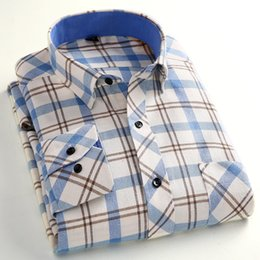 Wholesale Men S Business Leisure Shirts - Wholesale- Autumn Winter New Arrivals Men Leisure Striped Shirt Men Silm Fit Long Sleeve Plaid Shirt Business Thicker Warm Camisa Masculi