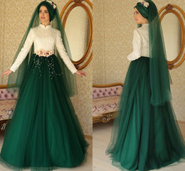 Wholesale Custom Made Islamic Wedding Gowns - Turkish Islamic Green White Muslim Wedding Dresses High Neck Long Sleeve Embroidery With Pearls A Line Floor Length Bridal Gowns
