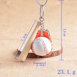 Wholesale Gold Coins 24k - Mixed Colors Baseball Gloves Wooden Bat Keychains 3 Inch Pack Of 12 Key Chain Ring Cartoon Keychain Best Christmas Gift