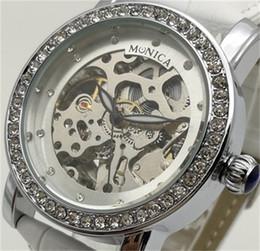 relojes guangzhou Rebajas Reloj mecánico automático New Women's Leather Hollow Watch Guangzhou Fashion Brand MUONIC Luxury Hot Diamond Drill Watch
