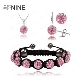 Wholesale office earrings - AENINE European Style Jewelry Sets Necklace+Bracelet+Earrings 10mm Micro Pave CZ Disco Beads Crystal Office Jewelry Sets SHSE21