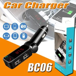 Wholesale Apple Car Transmitter - BC06 Bluetooth Car Charger Wireless Hands-free Universal Support TF Card MP3 MP4 Music Player Speaker Aux FM Transmitter Mini Dual USB Ports