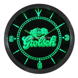 Wholesale Neon Led Wall Clock - Wholesale- nc0002 Grolsch Beer Neon Sign LED Wall Clock