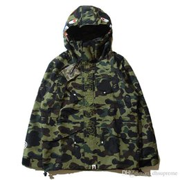 Wholesale Vest Xl - Teenager Hot 4 Colors Camo Jackets Men's Camouflage Jackets Shark Head Jacket Dust Coat Wind Breaker Casual Hooded Outwear