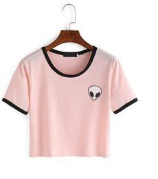 Wholesale Ufo Shirt - Wholesale-Free Shipping 2016 Summer Style Women T-shirt Tumblr Alien UFO Printed Pink Fashion Funny Short Mini Shirt Tee Kawaii Female Top