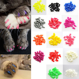 Wholesale Glue Size - 100Pcs Lot Colorful Soft Pet Cats Kitten Paw Claws Control Nail Caps Cover Size XS-XXL With Adhesive Glue