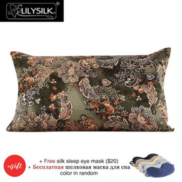 Wholesale Silk Pillow Cover Free Shipping - Wholesale- Pillow Case Lilysilk 100% Silk Pillow Cover 16 Momme Green Leaf and Flower 100% Pure Mulberry Silk Free Shipping