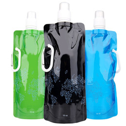 Belle bottiglie all'ingrosso online-All'ingrosso- Pratica bella portatile pieghevole bottiglia d'acqua Vescica all'aperto sport portatile pieghevole sacchetto di acqua Eco-Friendly