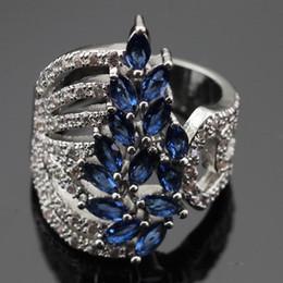 Wholesale Ashley Fashion - Fashion Jewelry Sets Ashley 2PCS Blue Stones White CZ Silver Color Bracelet Rings Jewelry Sets For Women Free Gift Box