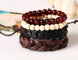 Wholesale Wholesale Women Leather Suits - 2017 new fashion 100% leather bracelet men and women lovers retro knitting hand rope leather bracelet multi-layer suit