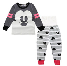 Wholesale Christmas Pajamas For Children Cotton - Pajamas for Children Girls Boy pyjama Mickey Minnie Cartoon Highwaist Belly protect 100% cotton 2pcs set 2017 Winter New arrival Gray pink