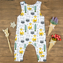 Wholesale Fox Animals - Cotton Baby Clothes 2018 New Rompers Sleeveless Lovely Newborn Toddler Kids Baby Boys Girls Jumpsuit Fox Printing Romper Summer Outfits