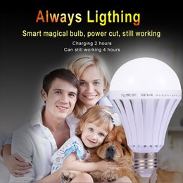 Wholesale Home Lamp Rechargeable - E27 LED Smart Rechargeable Bulbs 110V E27 Emergency Light Bulb Lamp Home Commercial Outdoor lighting 5W 7W 9W 12W 220V Bombillas Light Cool