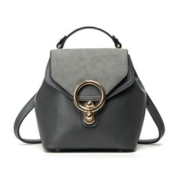 Wholesale Artificial Shoulder - Wholesale- 2017 New Multifunctional Female Shoulder Bags High Quality Women Artificial Leather Handbags circle buckle Cross Body Bag