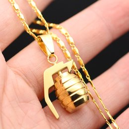 Wholesale Grenade Pendant Steel - SAYYID new brand European and American hip hop rock gold necklace fashion small grenade pendant necklace stainless steel necklace in stock