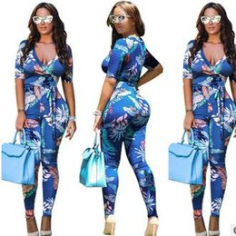 Wholesale European Sexy New Women Clothes - New European And American Style Rompers Sexy digital printing deep V straps Jumpsuits fashion Nightclub women clothing