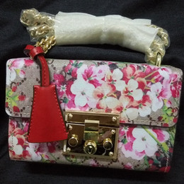 Wholesale Printed Vintage Canvas Bags - blooms Tian padlock bag women flower printing handbags high quality chain crossbody shoulder bags famous brands flap messenger bags