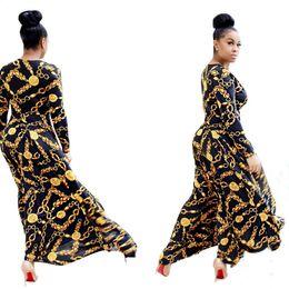 Wholesale Chain Neck Dress - LURSSN Promotion 2017 NEW Fashion Gold Metal Chain Printing Dress Women Party Elegant Evening Long Plus Size Dresses for Ladies